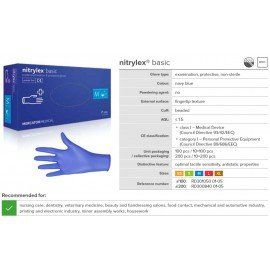 Nitrylex® Gloves - BASIC BLUE ( XS, S, M, L ) 200 pcs