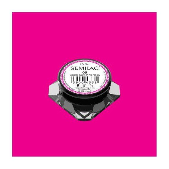 Semilac Nail Art Spider Gum 05 PINK NEON for easy nail art