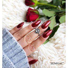Semilac 318 Gel Polish - BURGUNDY RED GLITTER