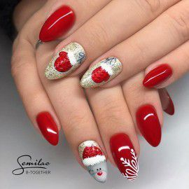 025 Semilac Gel Polish - Glitter Red 7ml