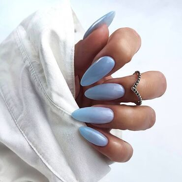 Here's a shiny pastel blue 💙 perfect for the #springnails 👉🏻 #semilac807 #gelpolish by @pomalowanki_iwona_wilk