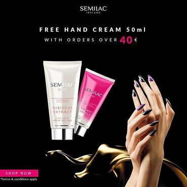 FREE #semilac #handcream 👐🏻🧴 with orders over 40€ www.semilac.ie . #hibiscus🌺 #handcare #semilacireland #hands #semilaclove *terms&conditions apply