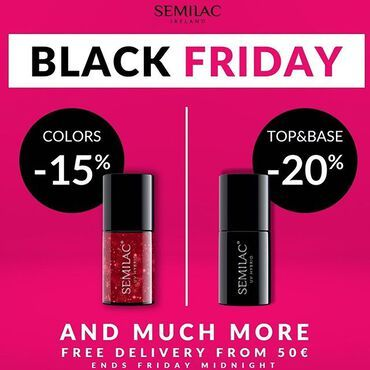 BLACK FRIDAY DEALS: See all 👇 🖤-20% - Base & Tops 🖤-15% - Gel Polish Colors 🖤-35% - Outlet Colors 🖤-30% - Nitrile Gloves 🖤-15% - Spider Gum 🖤-15% - Cat Eye Magic 🖤-12% - Nail Drill www.semilac.ie . Ends this Friday midnight . #semilacireland #semilac #semilacnails #blackfriday #gelpolish #shellacnails #nailtech #nailbar