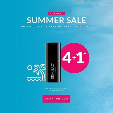 Please enjoy 4+1 Summer promo on All Gel Polish Colours / top & base / 5in1 till stock last 👍 Buy 5 from above and get cheapest one item for free . www.semilac.ie #semilacireland #semilacnails #semilac #semilaczki #gelpolish #irishnails #irishnailbar #irelandnails