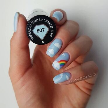 Let's bring bit of #goodvibes with #semilac807 pastel blue 💙 #semilacnails by @domprzezduze_d