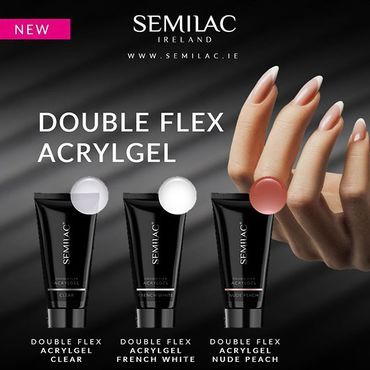 NEW 🔥 Double Flex #acrylgel Product thanks to which you will build and extend the nail plate. It combines the advantages of gel and acrylic, It is more flexio transparent Semilac Double Flex Acrylgel French White - white, firm covering. Semilac Double Flex Acrylgel Nude Peach - pink, opaque. Shop at www.semilac.ie . #acrylgel #bestquality #acryl #acrylgelnails #clearacrylicnails #beautystudio #beautician #nailtech #nailart#flexygel#acrylicnails #semilac #semigirls